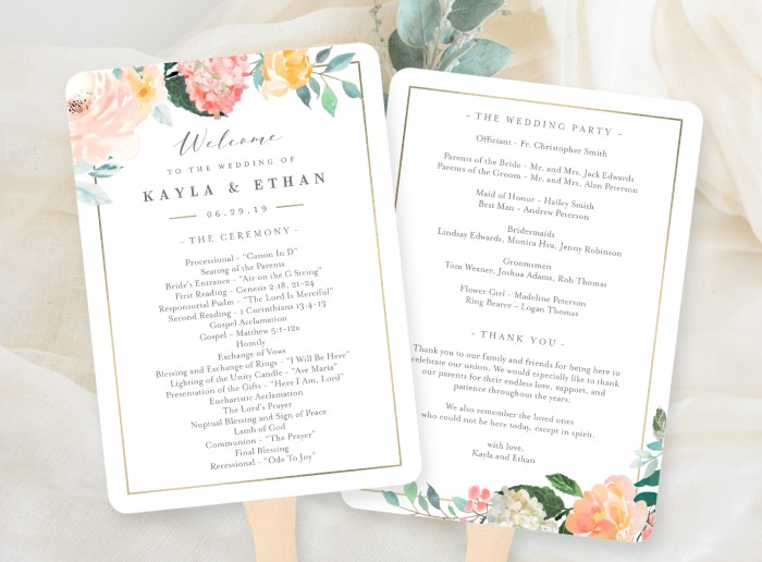What to include in a wedding program