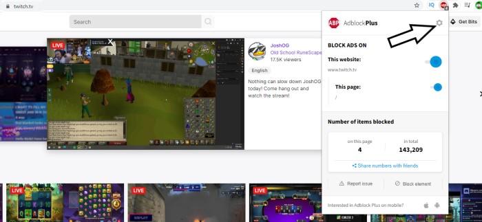 AdBlock not Working on Twitch AdBlock Settings