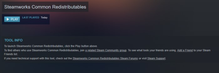What is Steamworks Common Redistributables