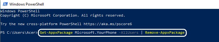 YourPhone.exe - Windows 10 - PowerShell