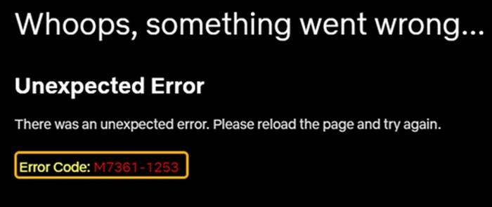 Error Code m7361-1253 Netflix