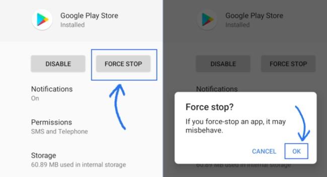 Error retrieving information from server RH-01 - Fix Force Stop